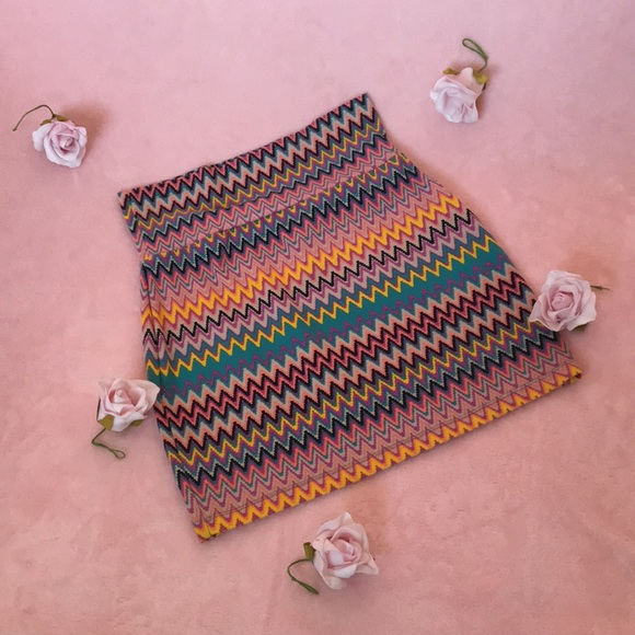 Pastel Aztec Print Bodycon Skirt